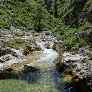 Potok Ötscherbach se ostře zakusuje do svahů hor. Ötschergräben, rakouské Alpy