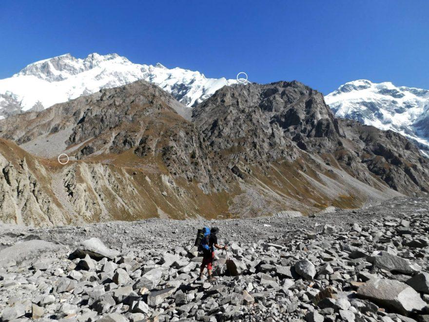 Průzkumná výprava 2019: 2019 pohled na base camp a vrchol hory, expedice Muchu Chhish 2020