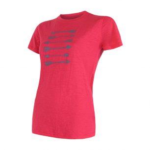 SENSOR Merino triko s krátkým rukávem Magenta.