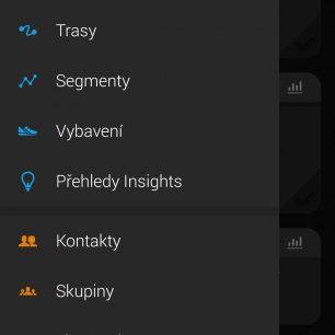 Listovací menu v aplikaci GARMIN Connect.