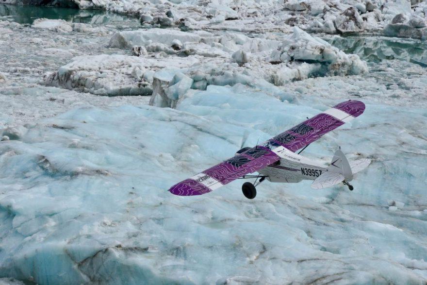 Přelet nad patagonskými ledovci.
