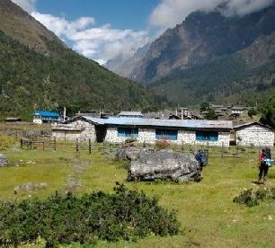 Nepál, Kangchenjunga, vesnice na treku